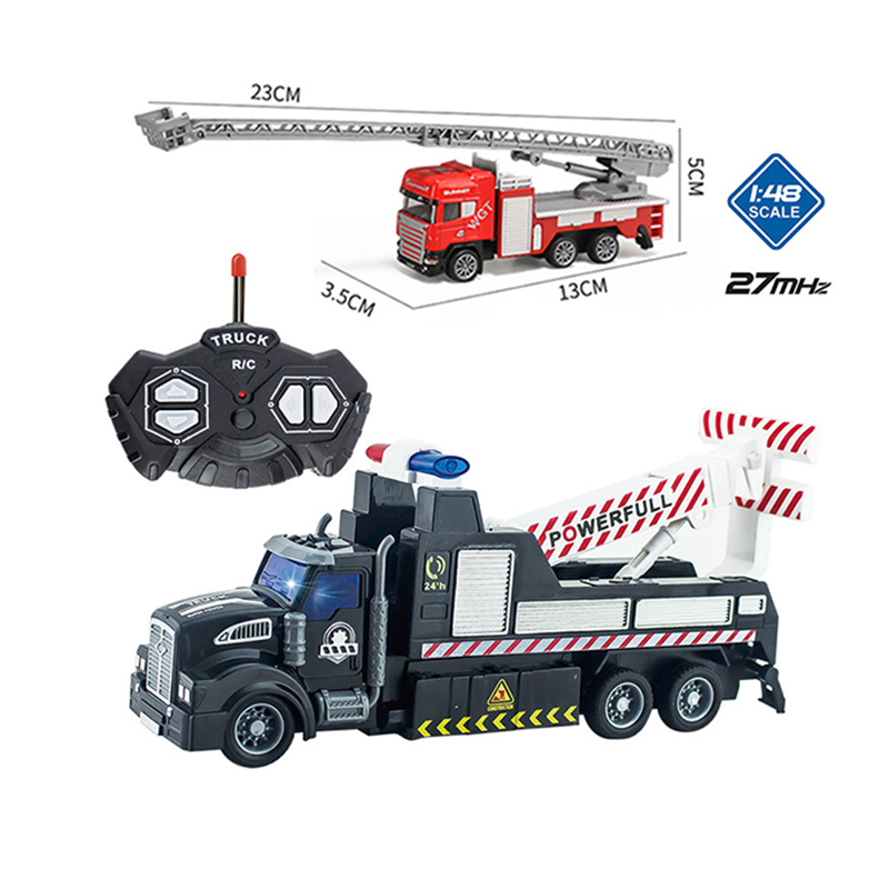 22CM RC Car Radio Remote Control Truck Crane Rescue Trailer Tow Toy with Small Trucks Toys Modles for Kids Boys Christmas RC012