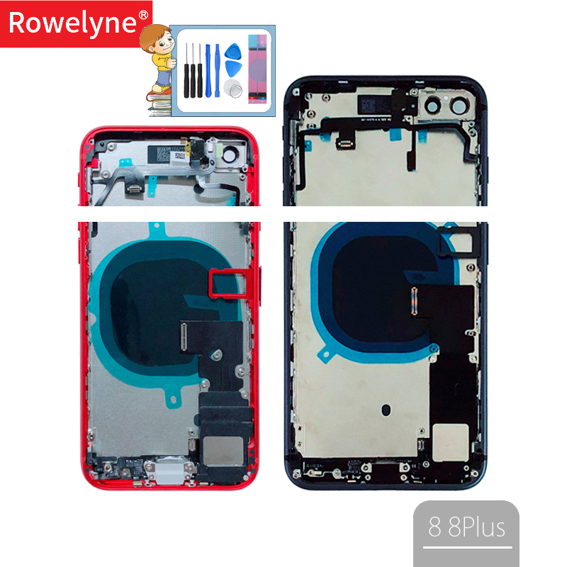 Back Full Housing For Iphone 8 8Plus Plus Back Battery Cover Door Middle Frame Chassis + Glass With Flex Cable Parts Assembly