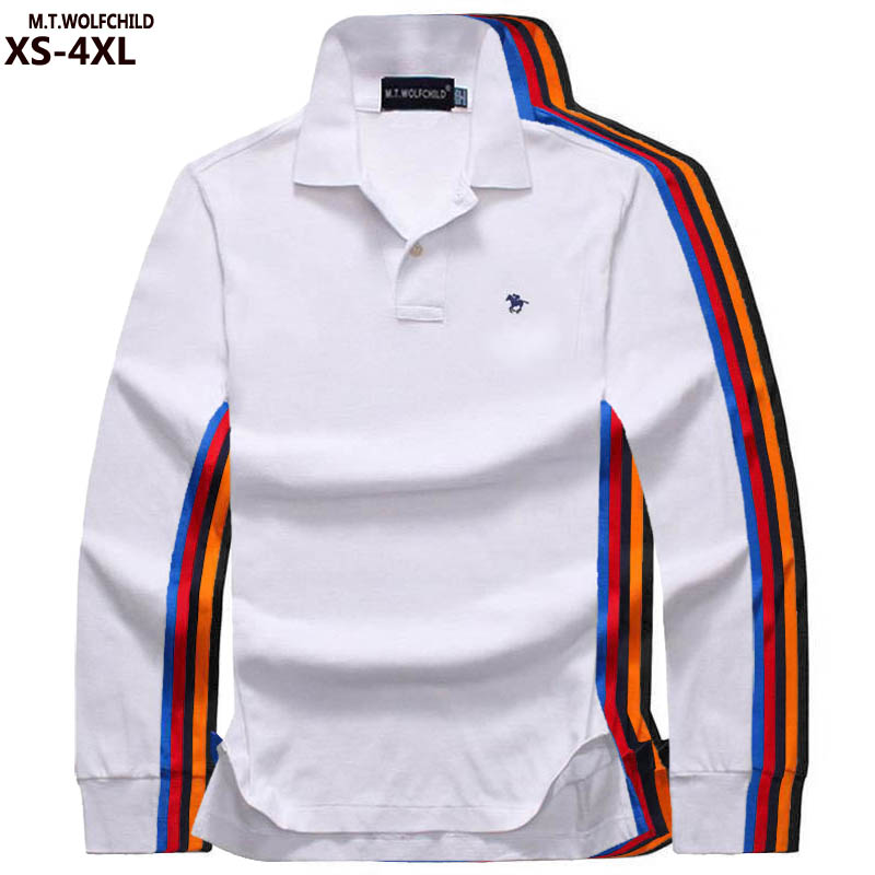 Plus Size XS-4XL Autumn Men's Long Sleeve Polos Shirts 100% Cotton Casual Mens Polos Shirts Solid Color Fashion Mens Loose Tops