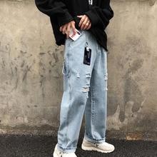 2019 Mens Summer New Casual  Simple Hole Jeans Men Loose Temperament Trend Cotton Blue Hip Hop Streetwear S-2XL