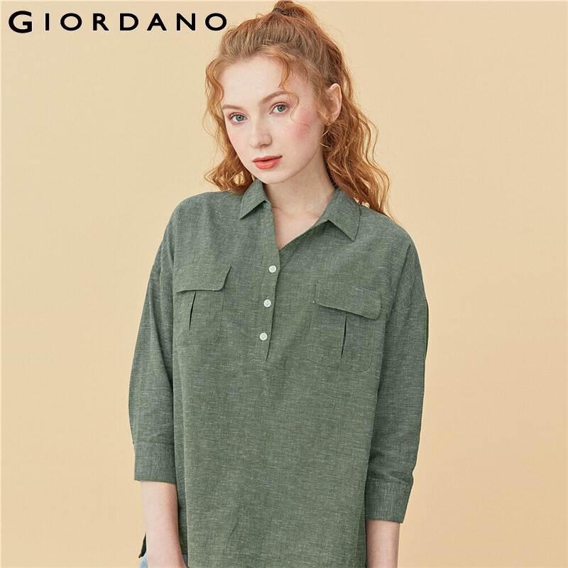 Giordano Women Shirts Linen Cotton V Neck Three Quarter Sleeves Shirts Half Placket Button Closure Blusas Mujer De Moda 05340490
