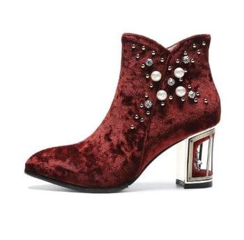 Женские бархатные ботильоны с жемчужинами и кристаллами; женские весенние свадебные ботинки со стразами на массивном каблуке