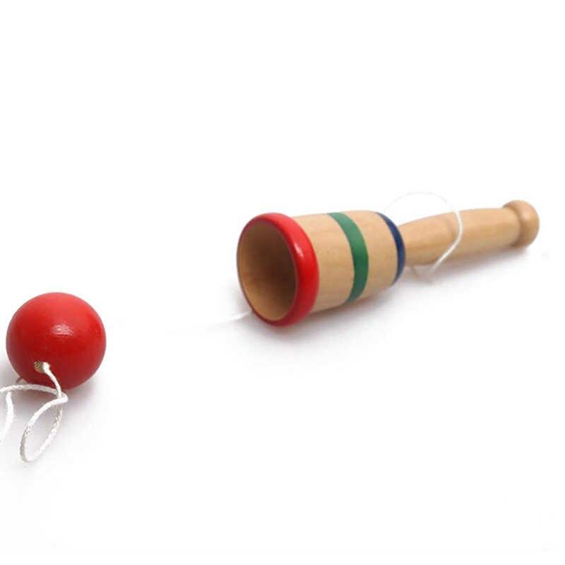 カラフルな抗ストレス安全けん玉木製剣玉カップとボール就学前教育玩具子供の屋外おかしいゲーム