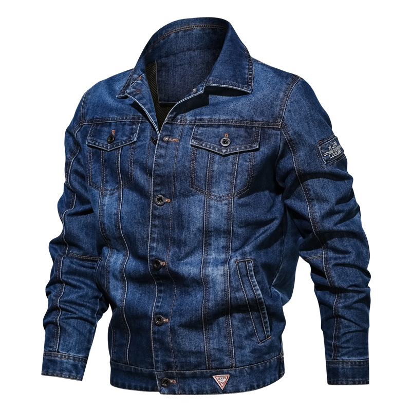 Men's Solid Denim Jacket 2019 Spring Autumn Casual Slim Fit Bomber Jackets Male Jean Jacket Outwear Male Cowboy Plus Size 4XL