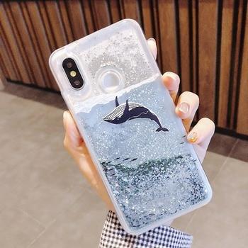 Fashion Girl For Xiaomi 8 5X 6X Mix 2S Case Whale Liquid Quicksand Silicone Cover For Xiaomi Redmi 5 Plus Note 5 Phone Bag 1