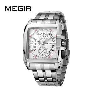 Image 1 - MEGIR オリジナルの高級メンズ腕時計ステンレス鋼メンズクォーツ腕時計ビジネスビッグダイヤル腕時計メンズレロジオ Masculino
