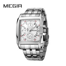 MEGIR Original Luxury Men Watch Stainless Steel Mens Quartz Wrist Watches Business Big Dial wristwatch mens Relogio Masculino