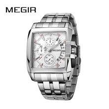 MEGIR oryginalny luksusowy męski zegarek ze stali nierdzewnej męskie zegarki kwarcowe biznes duża tarcza zegarek męski Relogio Masculino