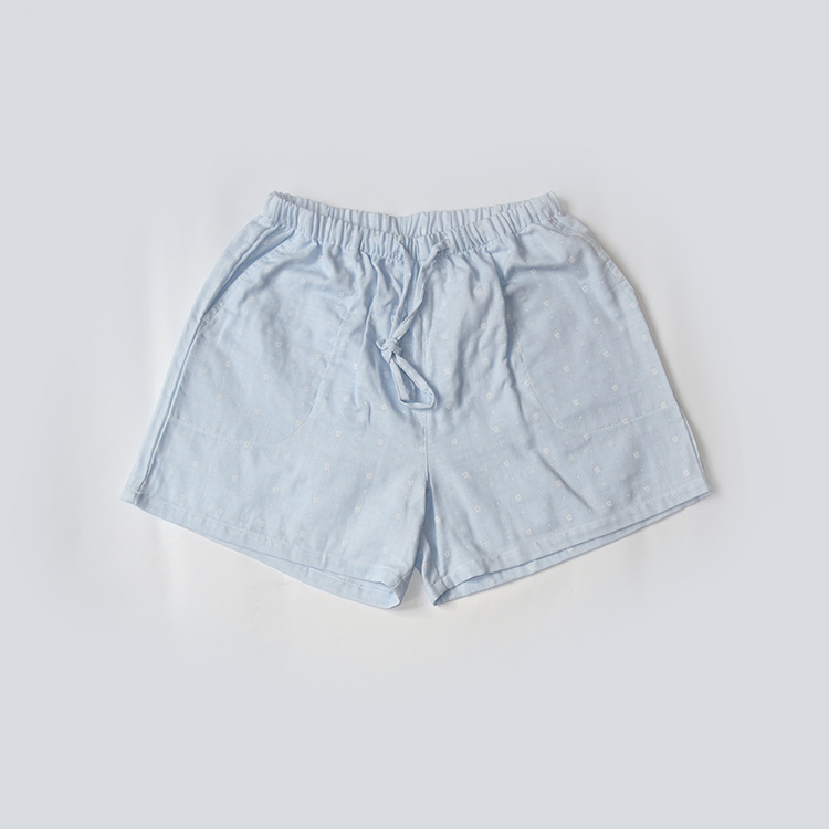 Летние женские Пижамные шорты, хлопковые газовые пижамы, штаны с принтом, штаны для сна, одежда для сна, женская одежда для сна - Цвет: Snow blue