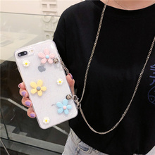 3d daisy chain strap tpu case for samsung galaxy s10 s9 s8 plus note 8 9 s10e cover fashion glitter foil lsoft silicon phon