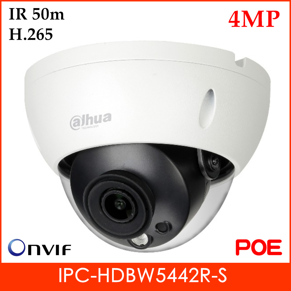 Dahua Pro-AI 4MP IP Camera IPC-HDBW5442R-S H.265 1 IR Leds Fix Lens Support Motion Detection And SD Card 256G IP Security Camera