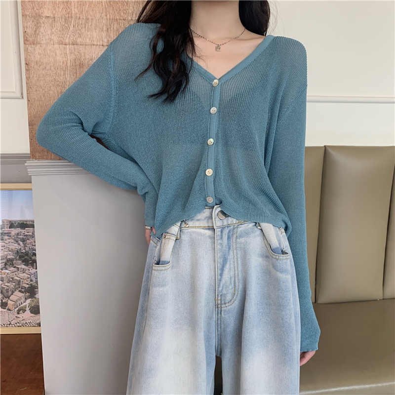Summer Cardigan Long Sleeve Knitted Sweater Women Korean Short  Sunscreen Cropped Cardigan Loose V-neck Solid Color Thin Tops 1