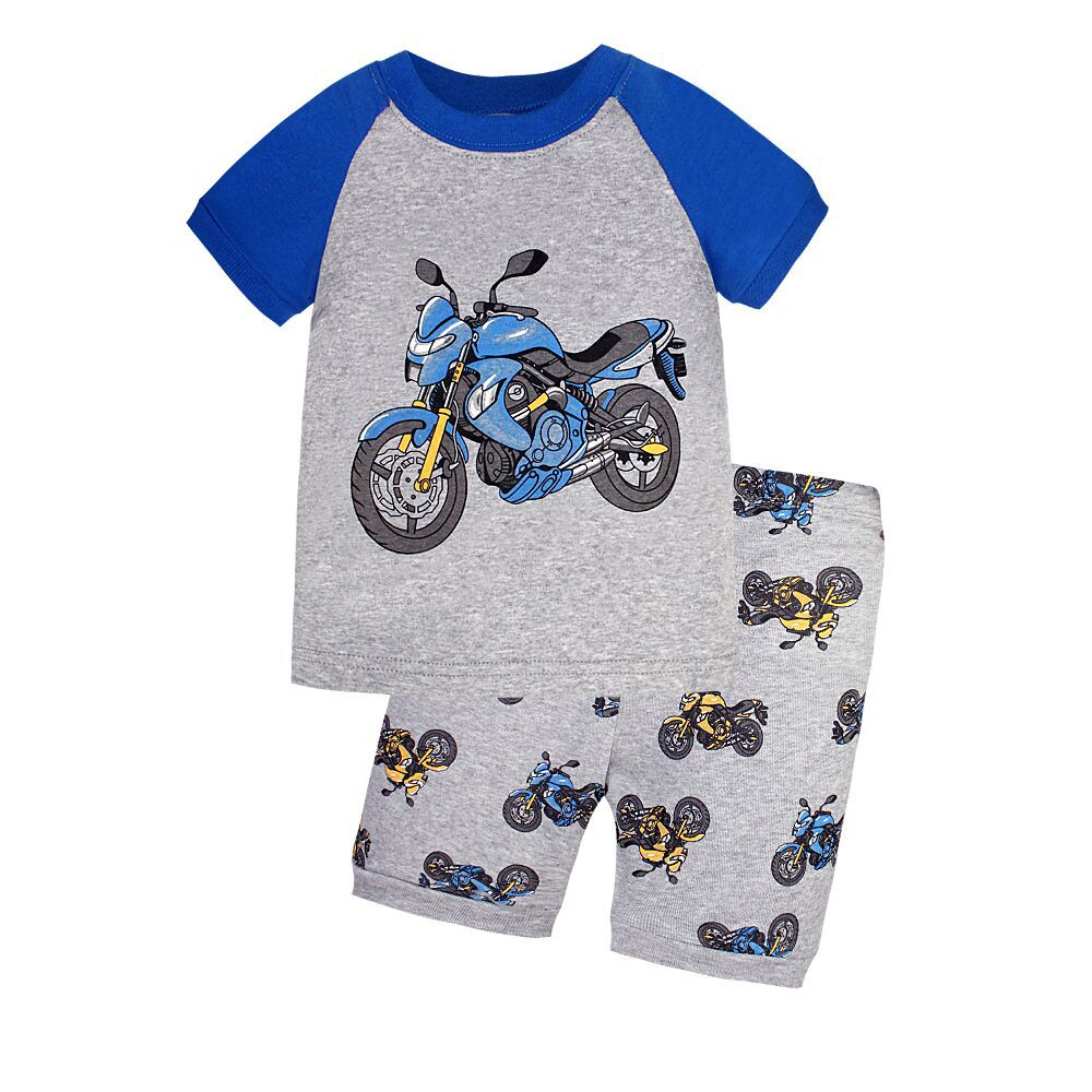 CHILDREN'S Garment Hot Selling Short Sleeve Pajamas Foreign Trade Tracksuit Cartoon Currently Available Wholesale Gray Motorcycl