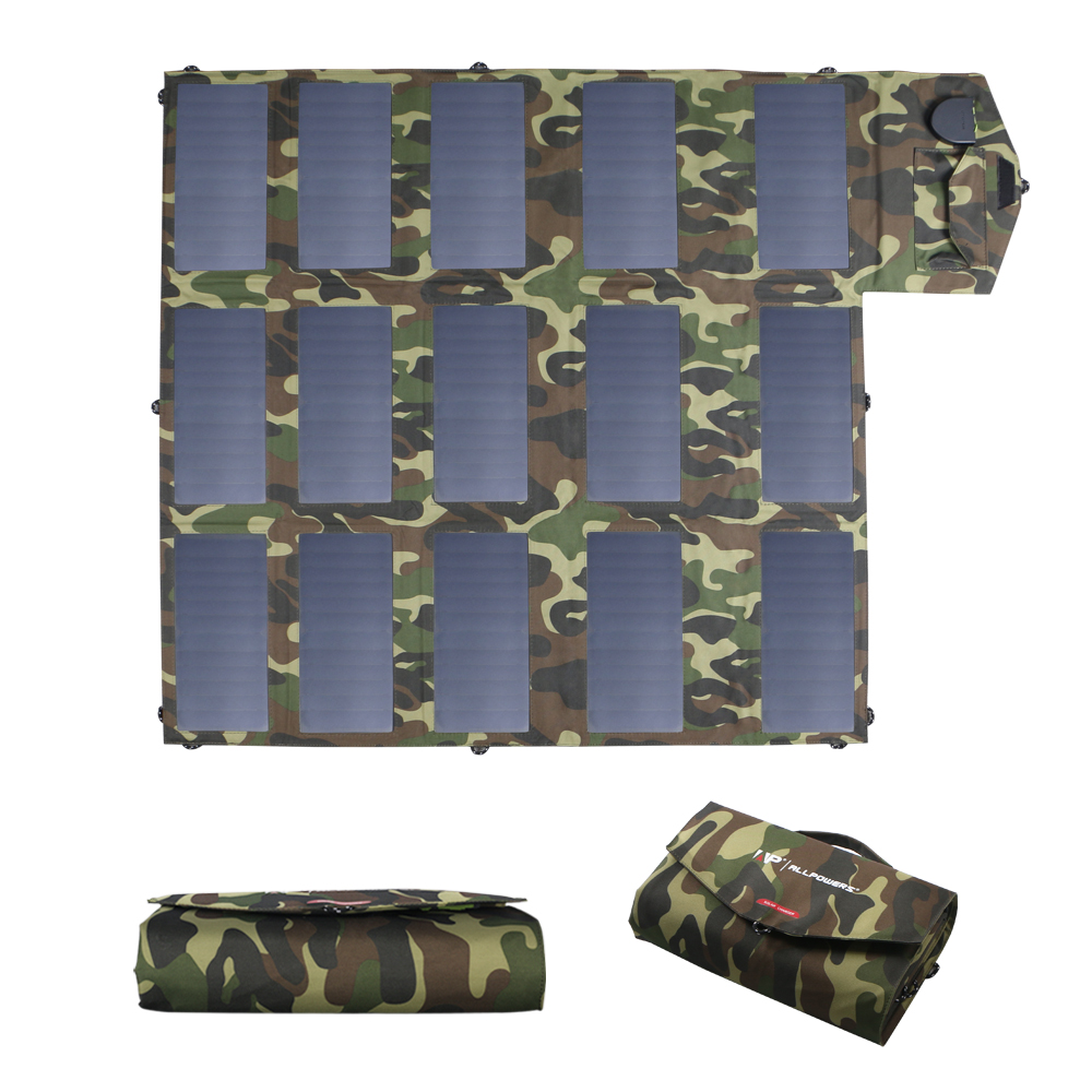 ALLPOWERS Camouflage <font><b>100W</b></font> <font><b>Solar</b></font> <font><b>Panel</b></font> Charger Foldable Portable <font><b>Solar</b></font> Charger 5V <font><b>12V</b></font> 18V Charger for Outdoors Charging. image