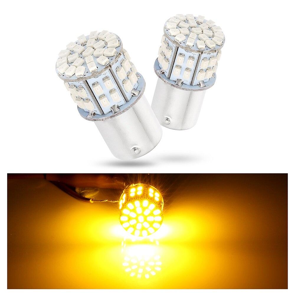 Комплект из 2 предметов, с can-bus желтый 12-24V 50SMD светодиодный 1156 BAU15S PY21W поворота автомобиля задние фонари лампочки легко заменить автомобильна...