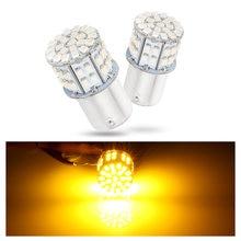 2 pces canbus amarelo âmbar 12-24v 50smd led 1156 bau15s py21w carro volta luzes da cauda lâmpadas fáceis de substituir a lâmpada do carro