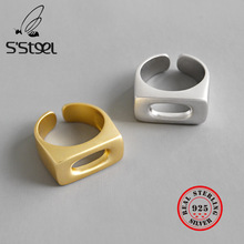 S'STEEL 925 Sterling Silver Rings For Women Square Hollow Gold Ring Bijoux Argent 925 Massif Pour Femme Sieraden Fashion Jewelry