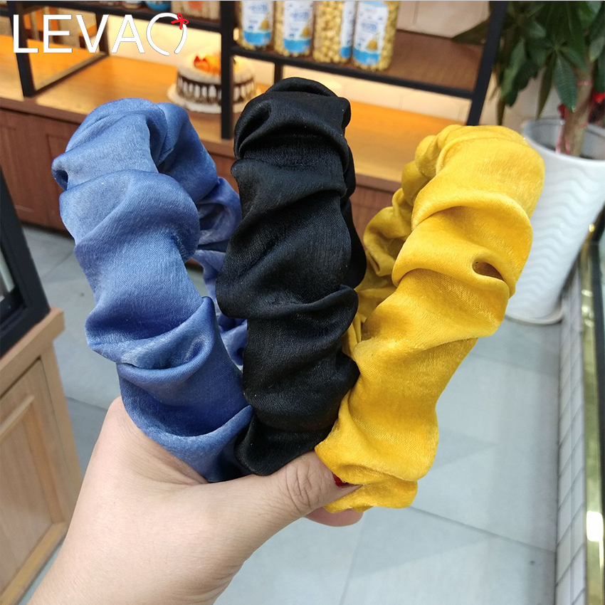 Levao Ruched Pleated Headband Fold Glossy Satin Hairband 2.9cm Wide Head Bezels Headbands For Women Hair Hoops Hair Accessories