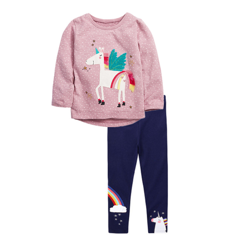 VIDMID girls cotton clothing set kids cartoon t-shirt and pants baby girls long sleeve clothing suits children clothes sets W01 1