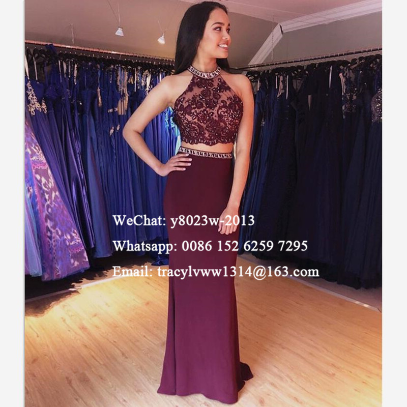 Two Piece Mermaid Evening Dress Formal Lace Top Sheer Neck 2020 Long Prom Dresses Party For Women Robe De Soiree