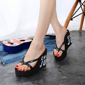 Image 1 - XMISTUO Fashion Women Flip Flops Female Summer Beach Wedges Water resistant 11cm Super High heeled Slippers 4 Color 7041