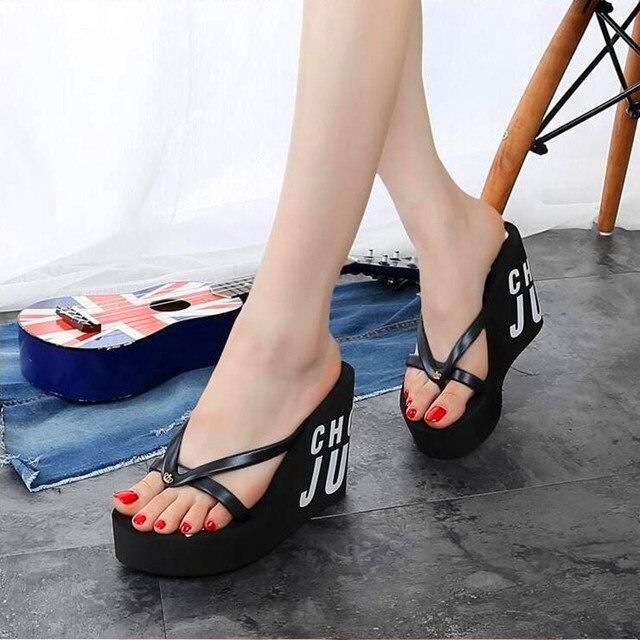 XMISTUO Fashion Women Flip Flops Female Summer Beach Wedges Water resistant 11cm Super High heeled Slippers 4 Color 7041