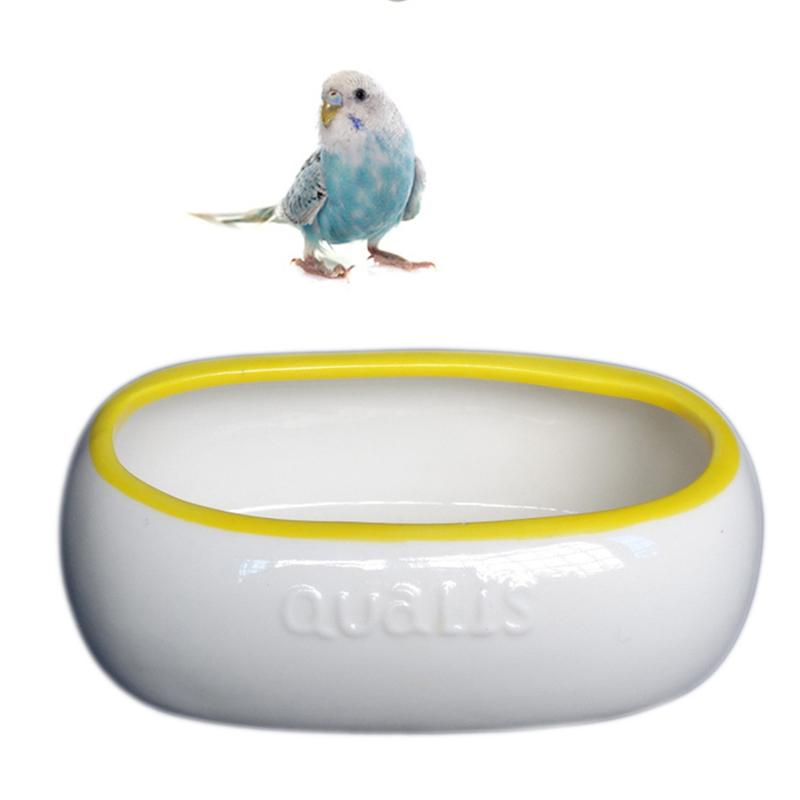 Ceramic Parrot Bathtub Pet Feeder Bowl Adorable Food Safety Grade Dog Indoor Cat Feeding Pot for Small Pet image
