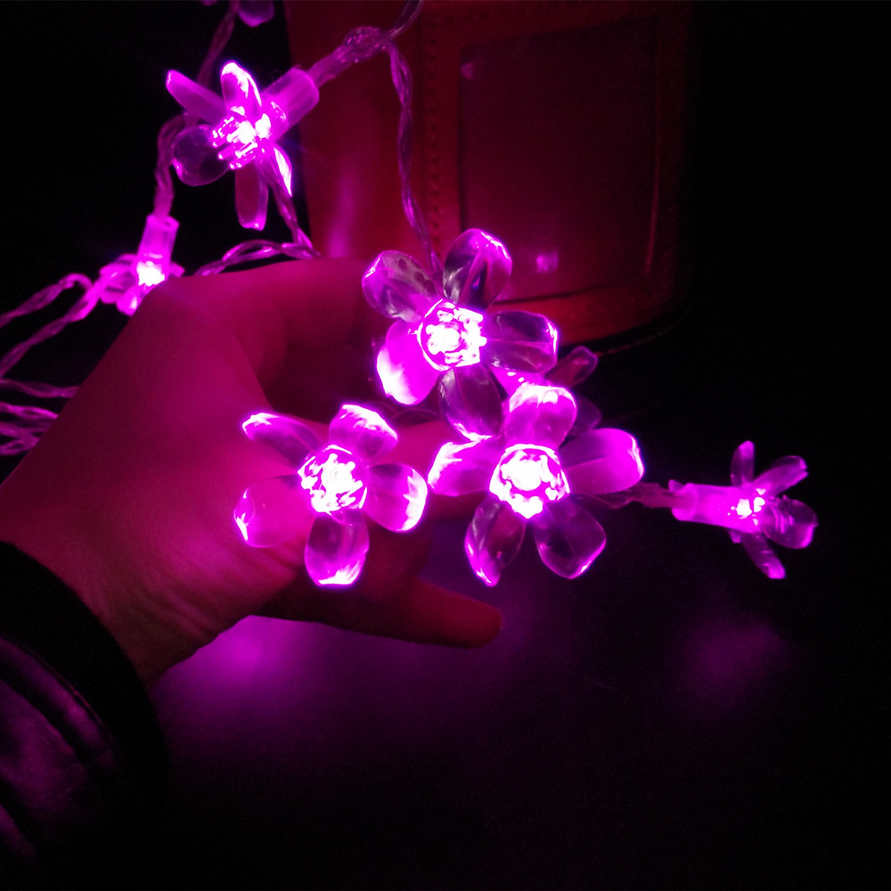 New Multi 2M 20 LED Battery Operated Sakura Garland Cherry Blossoms Peach Flower String Fairy Christmas Light Cereza Luz
