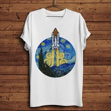 Space Shuttle mixed famous Van Gogh Starry Night funny t shirt