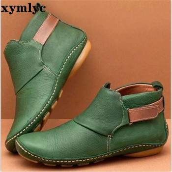 Women's pu leather ankle boots women cross strap vintage woman shoes short plush punk boots flat ladies retro botas mujer