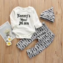 Bodysuits Pants Outfit-Set Moustache Newborn Infant Baby-Boy Letter And Cotton Hat Long-Sleeve