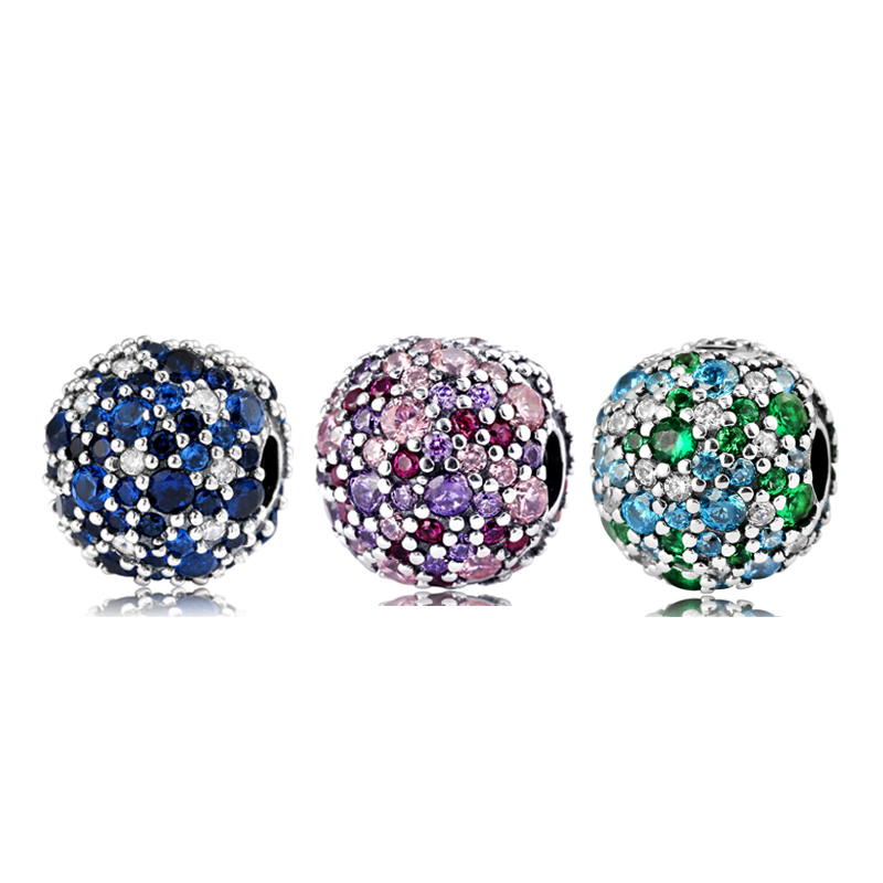 New 925 Sterling Silver Charm Colourful Round Beads Shape Clips Lock Bead Fit Original Pandora Charms Bracelet Jewelry 2018