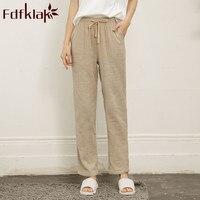 Fdfklak-pantalones de casa para mujer, ropa de dormir de algodón y lino, pantalones de pijama rosas de talla grande M-XXL, novedad de verano 2020