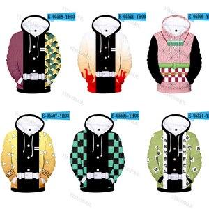 Image 1 - 악마 슬레이어 3D 후드 새로운 스타일 패션 후드 남자 Kimetsu 아니 Yaiba 애니메이션 Streetwear 옷