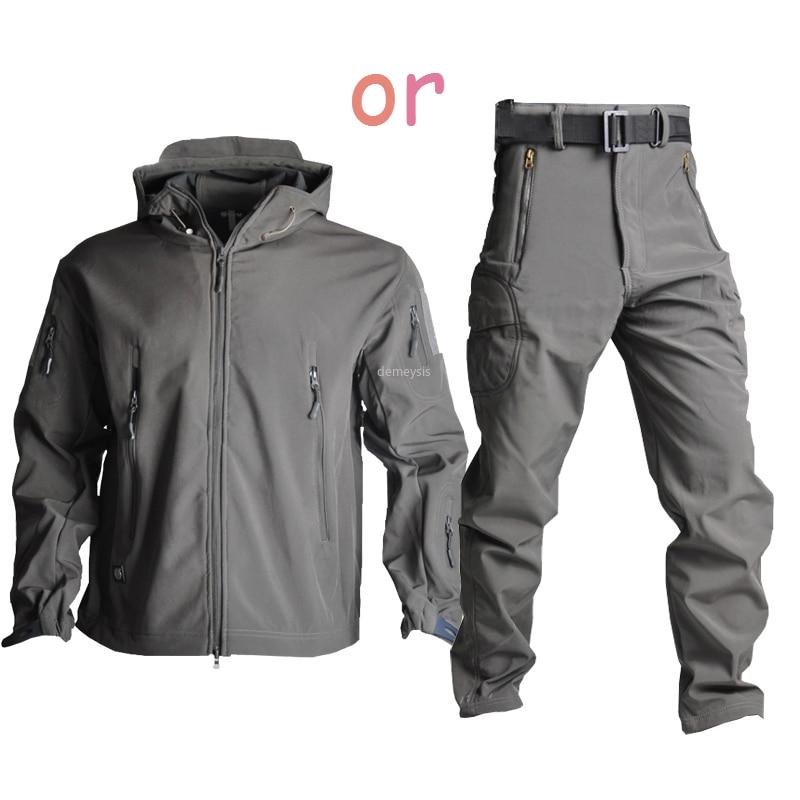 Askeri taktik ceket su geçirmez dış giyim pantolon rüzgar geçirmez avcılık kamuflaj softshell ceket savaş eğitimi takım elbise ceketler