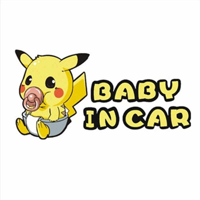 Baby in de auto waarschuwing stickers Pokemon funny Pikachu botsen glas 3d vinyl decals op muur deur raamdecoratie accessoires
