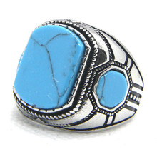 Поддержка Прямая поставка новейший Размер 7-13 голубые глаза кольцо 316L из нержавеющей стали модное Ювелирное кольцо с голубым камнем