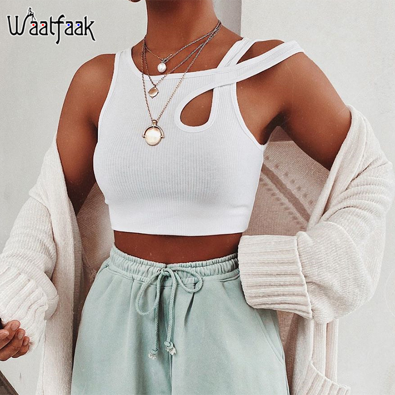 Waatfaak White Knit Slim Tank Top Cotton Fitness Cut Out Gym Workout Sexy Crop Top Women Basic Casual Cropped Tops Summer Club