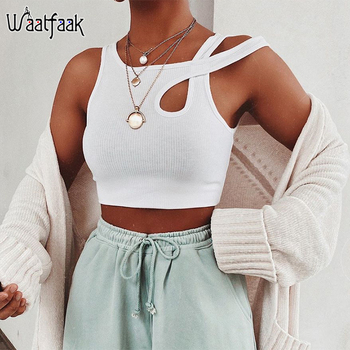 цена на Waatfaak White Knit Slim Tank Top Cotton Fitness Cut Out Gym Workout Sexy Crop Top Women Basic Casual Cropped Tops Summer Club
