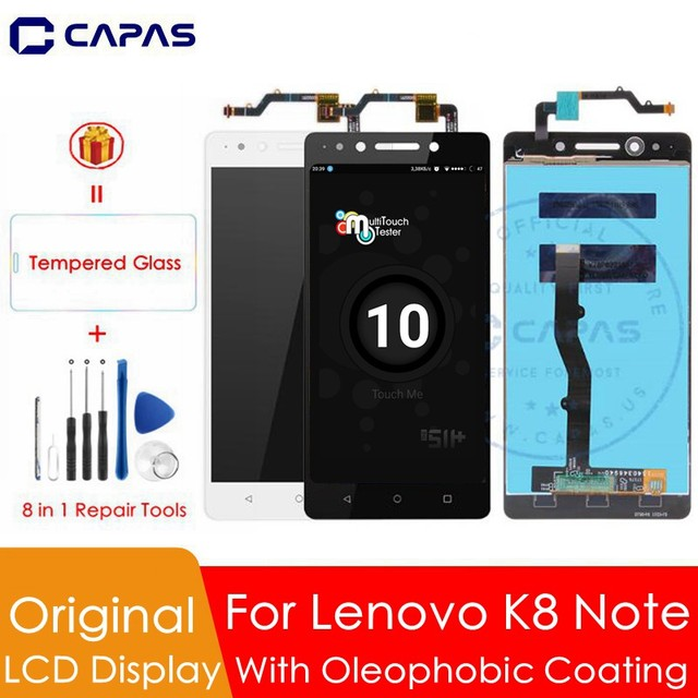 Original For Lenovo K8 Note LCD Display + Frame 10 Touch Screen Panel For Lenovo K8 Note LCD Screen Digitizer Replacement Parts