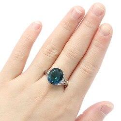 Необычные серебряные кольца 19x14 мм овальной формы с темно-лондонским голубым топазом и белым кубическим цирконием для женщин
