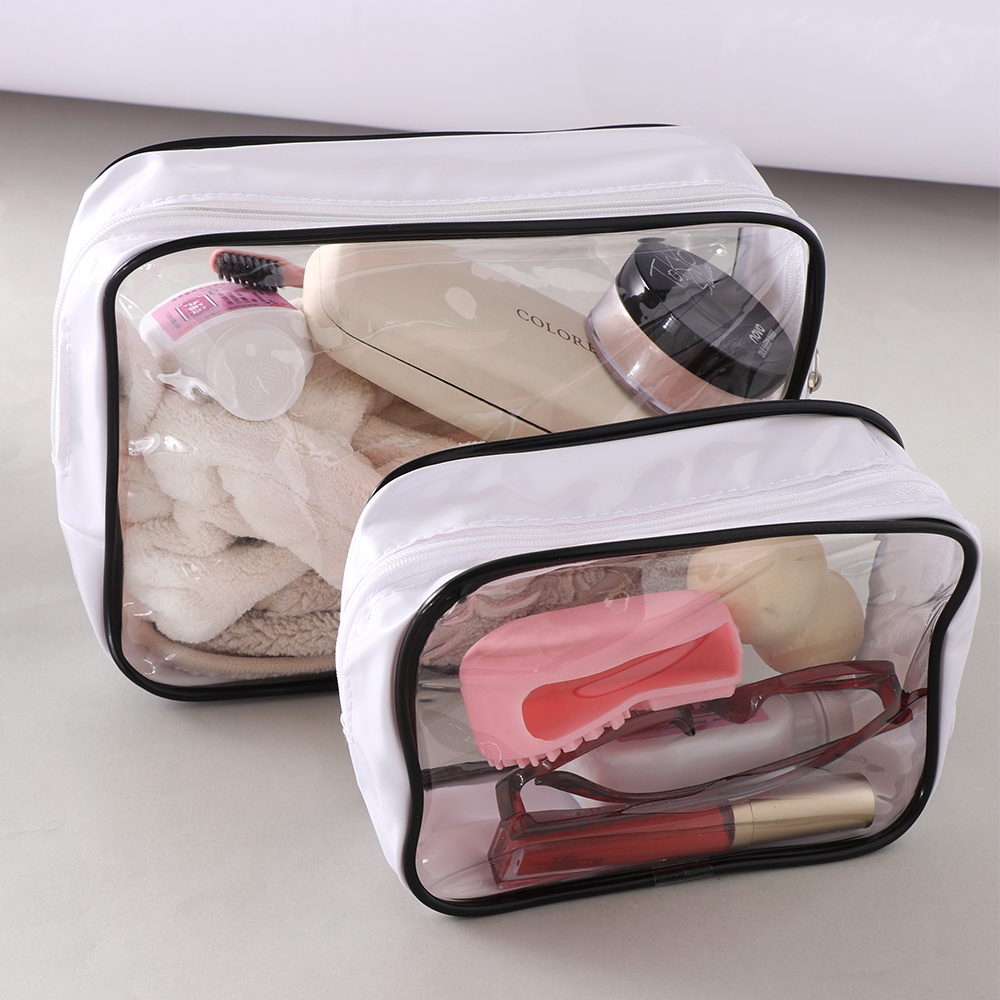 1 Pc Transparent Cosmetic Bag PVC Travel Organizer Bag Zipper Clear Waterproof Women Makeup Bag Dropshipping