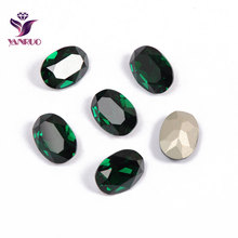 YANRUO 4120 Oval Emerald Fancy Glass Beads Diamond Sewing Rhinestones DIY Base Ornaments Claw Setting
