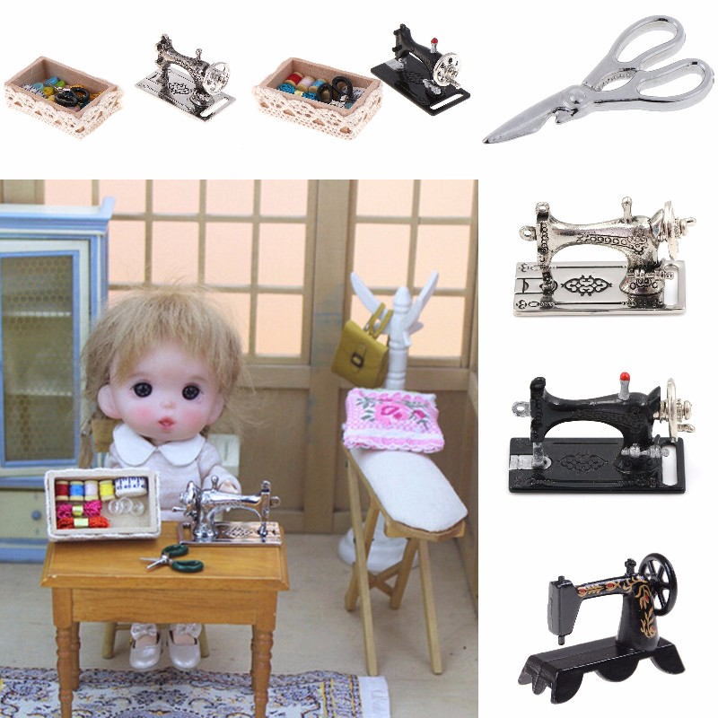 1Set 1:12 Mini Sewing Machine Simulation Home Furniture For Girl Doll House Decoration Dollhouse Miniature Accessories