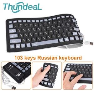 Image 1 - 103keys Russian Keyboard Letters Silicon Teclado Layout USB Interface Russian Keyboard Flexible Teclado PC Desktop Laptop Wired