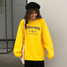Oversize Sweatshirt INS Style Long Sleeve Letter Print Pullover Loose Plus Velvet Thickening Hot Sale Shirt