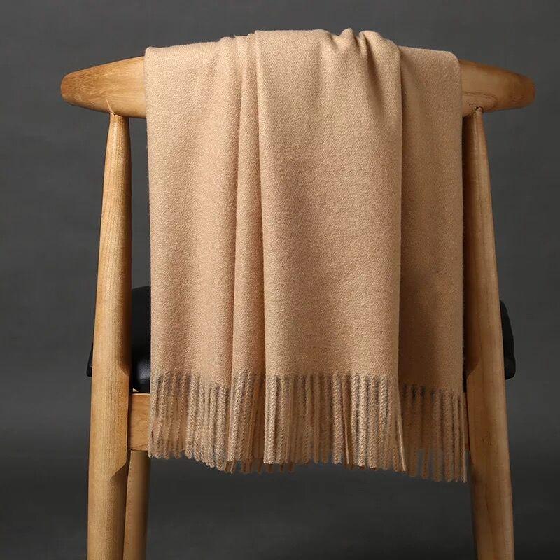 Cachecóis de Caxemira com Borla Nova Chegada Sólida Simples Inverno Feminino Grosso Quente lã Cachecol Xale Envoltório Marca Venda 2020 Cor