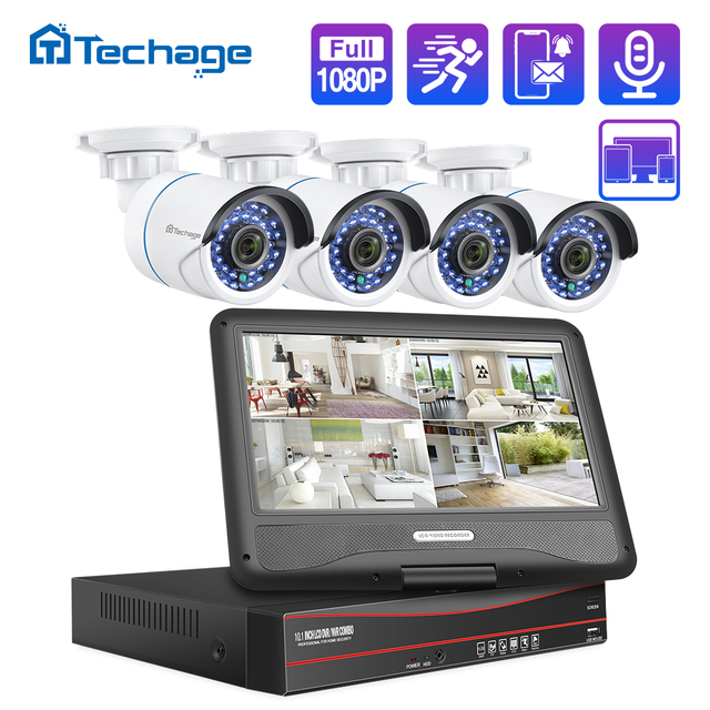 Techage 8CH 1080P LCD Screen Monitor POE NVR Kit CCTV System 2MP HD Outdoor Sicherheit Audio IP Kamera P2P video Überwachung Set