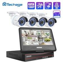 Techage 8CH 1080P Monitor schermo LCD POE NVR Kit sistema CCTV 2MP HD sicurezza esterna Audio telecamera IP P2P Set di videosorveglianza