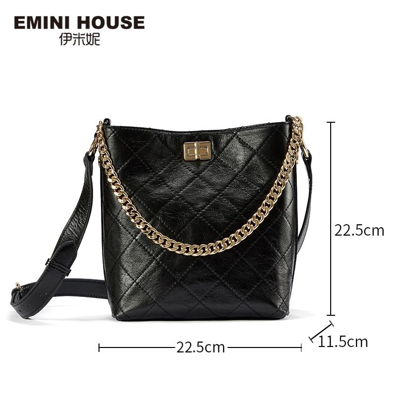 Image 2 - EMINI HOUSE Oil Wax Diamond Lattice Bucket Bag Genuine Leather Wide Strap Shoulder Bag Luxury Handbags Women Bags Designer-in Top-Handle Bags from Luggage & Bags